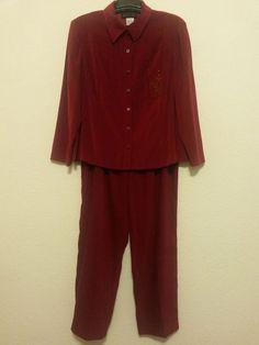 D.G.I. Women's Stretch Pants Suit - Red Velour (Size Blazer 20W & Pants 18W Inseam 30) #DGI #BlazerPantSuit