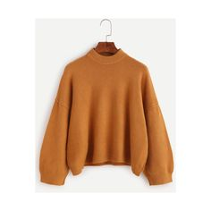 SheIn(sheinside) Khaki Mock Neck Jersey Crop Sweater ($20) ❤ liked on Polyvore featuring tops, sweaters, khaki, long sleeve crop top, acrylic sweater, cropped sweater, crewneck sweaters and brown sweater