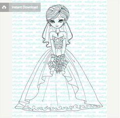 bridal image stamp by MilkCoffee on Etsy