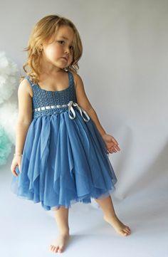 Indigo azul tul vestido con cintura imperio y estiramiento del
