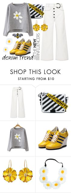 """Wide Leg Jeans"" by bysc ❤ liked on Polyvore featuring Rejina Pyo and Off-White"