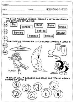Atividades de Português para o 1° ano do Ensino Fundamental desenvolvida para os alunosque se prepa