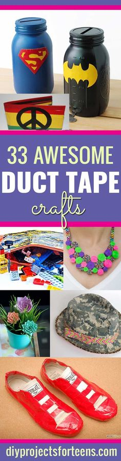 Fun  Duct Tape Crafts Ideas for DIY Home Decor, Fashion and Accessories    Cool DIY Projects for Teens, Tweens and Teenagers   http://diyprojectsforteens.com/duct-tape-projects/