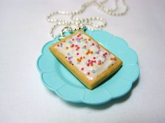 SALE - Kawaii Frosted Pop Tart Polymer Clay Necklace Pendant