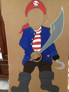 Pirate cut out for photo opportunity. Using in a little mermaid theme party where a lot of boys will attend. Pirate Day, Pirate Birthday, Pirate Theme, Mermaid Birthday, 3rd Birthday Parties, Boy Birthday, Pirate Crafts, Foto Fun, Mermaid Parties