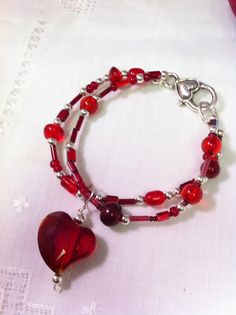 Silver and Red Beaded Heart Bracelet from by LilyHillHandmade, $10.00
