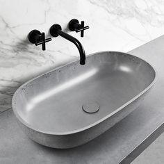 OVAL (concrete washbasin) on Behance Slate Bathroom, Bathroom Ideas, Washbasin Design, Small Basin, Concrete Basin, Corporate Design, Timeless Design, Countertops, Bathroom Dimensions
