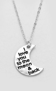Love You to the Moon and Back Necklace in Silver Back Necklace, Moon Necklace, Dog Tag Necklace, Pendant Necklace, Hubby Love, My Love, Memorial Jewelry, Gift Quotes, Jewelery