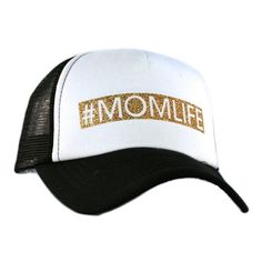 Women's glitter trucker hat designed by Katydid. These unique hats have a curved bill with a glitter applique design that reads #MOMLIFE on the front. Has an ad