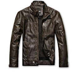 Leather Jacket for Men Made with 100% Genuine Lambskin Leather Brass/Silver accessories used in contrast with the leather color Leather is very soft and silky with thin gauge making it your choice of outerwear for any occasion Polyester lining inside with two pockets Two pockets Lightweight and stylish. You cannot go wrong with this. A classy mens leather jacket perfect for any event. It can be dressed up or dressed down. It has a stylish outer-stitch design which gives a nice classy feel. The c Pu Jacket, Riders Jacket, Men's Leather Jacket, Jacket Men, Jacket Style, Brown Jacket, Suede Jacket, Motorcycle Leather, Biker Leather