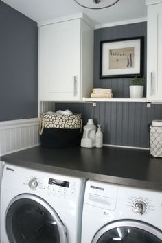 Bead board, grey walls, large tabletop and plenty of storage in laundry room by MyheartForever