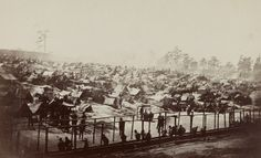 Andersonville Prison, Georgia, August 17, 1864, showing a south-east view of stockade. [Library of Congress and fayobserver.com]../ qw