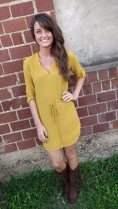 Mustard Shirt Dress