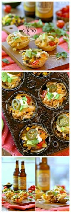 Loaded Chicken Taco Cups are the perfect appetizer for gameday! Tortillas baked into bitesized cups filled with everything for loaded chicken tacos. Superbowl appetizer!! | The Cookie Rookie