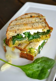 """beautiful, healthy and delicious Avocado & Goat Cheese """"Grilled Cheese"""" aka green grilled cheese. perfect for so many parties, sliced up as appetizers or snacks. Patrick's Day, Christmas, or any o(Goat Cheese Sandwich) I Love Food, Good Food, Yummy Food, Vegetarian Recipes, Cooking Recipes, Healthy Recipes, Tapas, Enjoy Your Meal, Soup And Sandwich"""