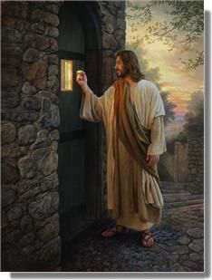 """Behold, I stand at the door and knock; if anyone hears My voice and opens the door, I will come in to him and will eat with him, and he will eat with Me."" Revelation 3: 20.    Painting: Greg Olsen"