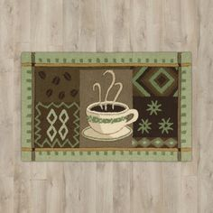 """Andover Mills White Green """"Coffee"""" Area Rug"""
