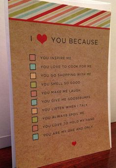 I love you because husband / wife or boyfriend / girlfriend quiz card and envelope (DIY gift boyfriend) – DIY - Birthday Presents Bf Gifts, Love Gifts, Xmas Gifts, Valentines Day Funny, Valentine Day Gifts, Valentines Diy For Him, Diy Birthday Ideas For Him, Valentines Ideas For Boyfriend, Valentine Ideas