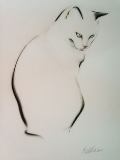 ARTFINDER: Drawing of Charlie by Kellas Campbell - Here is Charlie, my cat, in ink, charcoal and pink pastel for her nose, plus a bit of yellow for an ear.