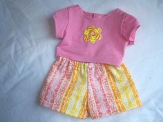 Pink Yellow and Orange Boxer Shorts with Pink Crop Top - Fits 18 inch dolls by AuntSissyOriginals on Etsy