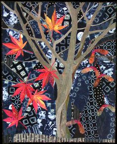 The shapes of the trunk and branches of Japanese maples are wonderful silhouettes in the winter. The use of a big collection of indigo dyed fabrics in the background gives a feeling of late evening to the quilt. One big polka dot from one of the indigoes was carefully placed among the branches.