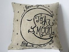 "Generic I Love You to the Moon and Back Cotton Throw Pillow Case Vintage Cushion Cover, 18 "" x 18 "" Generic"