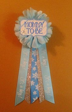 Blue Baby Shower Corsage Pin Baby Its Cold Outside Ribbon Glitter  Rhinestone Mommy Mom New Mom Its A Boy Baby Shower Pin Mommy To Be Pin