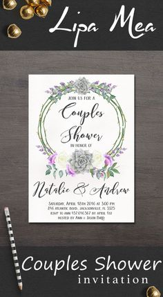 Couples Shower Invitation Printable, Succulent Couples Shower Invitation, Boho Shower Invitation, Succulent invitation. More invitations at: lipamea.etsy.com