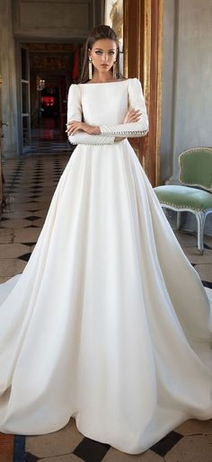 Long sleeves simple a line wedding dress : Milla Nova wedding dress #weddingdress #weddinggown #wedding #bridedress