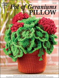 Pot of Geraniums Pillow -- free download -- wonder how this would work as a pillow -- can use up some of my discontinued RH WW Clay yarn
