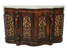 Victorian open fretwork buffet with marble top