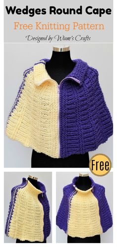 Wedges Round Cape Free Knitting Pattern 344a9bbc127