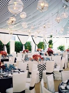 black and white striped wedding tent with gorgeous lighting! so nautical!