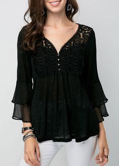 Women's Clothing Women Mesh Sheer Lace Blouse Ladies Summer Long Sleeve Dot Sexy V-neck Vest Tops 2019 New Fashion Elegant And Graceful