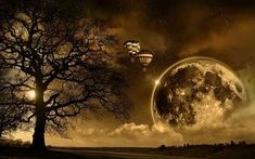 Big moon and hot air balloons - abstract HD wallpaper Big Moon, Full Moon, Dark Moon, Dream Meanings, Dream Interpretation, Moon Pictures, Moon Pics, Art Pictures, Magical Pictures