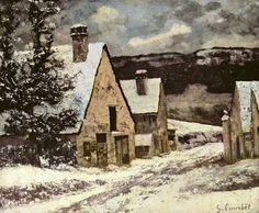 """Gustave Courbet  """"Village in Winter""""   See the best #Art installations in New York at www.artexperience..."""