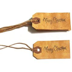 Handmade Christmas Gift Tags - Merry Christmas - Rustic - Hand Stained - Set of 6