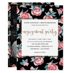 #engagement #party #invitations - #Modern Script Gold Floral Photo Engagement Party Card
