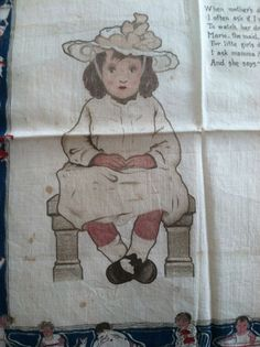 Jessie Willcox Smith illustration on cotton handkerchief. Copyright 1903.  Jessie Willcox Smith (September 6, 1863 – May 3, 1935) was one of the