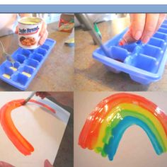 Using condensed milk and food coloring as paint for toddlers! Fun idea!