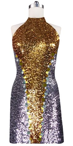 609367ad Short patterned dress in silver and gold sequin fabric with Chinese collar
