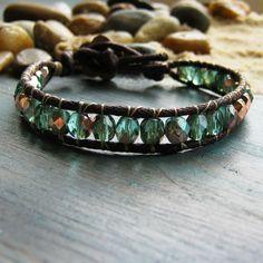 Single wrap boho, ethnic, beach style bracelet chocolate brown and teal green - earthy hippie look. £14.00, via Etsy.