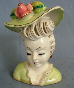"""1950's SO PRETTY Vintage Lady Head Vase -- We had several of these that had """"ivy"""" in them"""