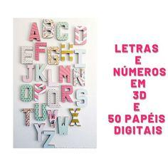 Molde para Letras e Números 3D no Elo7   Kamilla Rosa (8E7707) Teen Titans Go Characters, New Hobbies, Cricut, Notebook, 1, 3d Alphabet, Cutting Files, Digital Archives, Digital Invitations