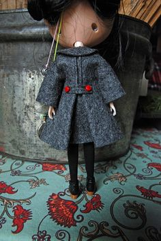 Felt Vintage Swing Coat for Neo Blythe Doll by AuntieShrews
