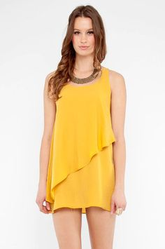 Tiered Tunic Dress in Mustard $38 at www.tobi.com - -also comes in coral