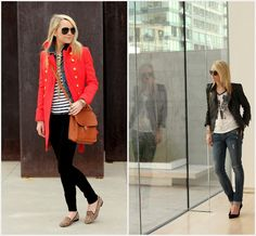 red jacket. stripes. leopard flats.