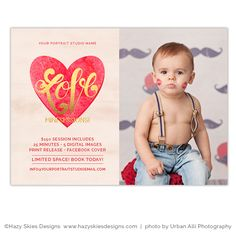 Valentine's Day Mini Session Marketing Template for Photographers #photography #marketing #mini #sessions #photoshop #templates #childrens #kids #newborn #studio #portraits #digital