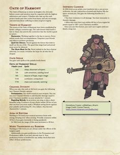 Oath of Harmony, a Musical Paladin subclass Dungeons And Dragons Classes, Dungeons And Dragons Homebrew, Character Creation, Character Concept, Dnd Paladin, Dnd Bard, Dnd Stats, Pen And Paper Games, Dungeon Master's Guide