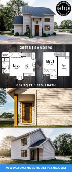 This traditional style cabin plan would be perfect for a lake getaway. Inside you'll find a large living room and open full sized kitchen. Upstairs you will find a large bedroom that is perfect for relaxation. Cabin Plans, Tiny House On Wheels, Large Bedroom, Small House Plans, Small Living, Wigs, Relax, Cottage, Houses
